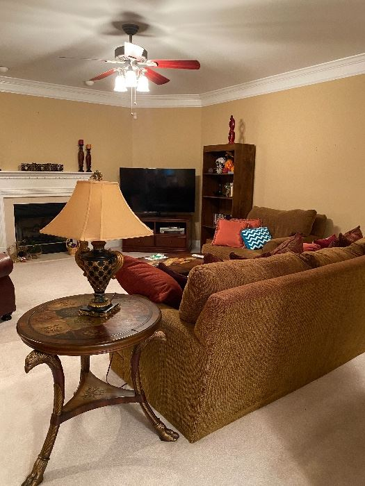 Couch and Chair $275 4pc table set $250 Tv $150 Tv stand $100  Book shelf $50 Lamp pair $75