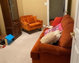 Orange Sofa $100 Vintage orange chair $75