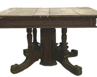 Victorian Square Oak Breakfast Table with Hidden Drawer