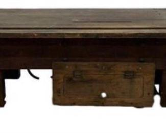 Antique Work Bench with Door for under storage