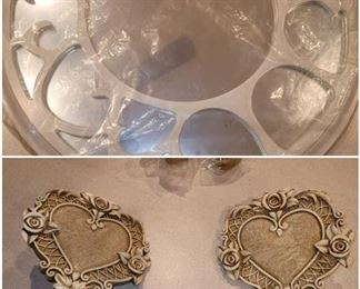 2 Heart Shaped Curtain Rods White Rounded Wall Mirror