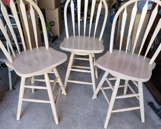3 Swivel White Wooden Chairs