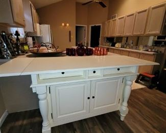 Cream Hutch Center Island Cabinet and Storage