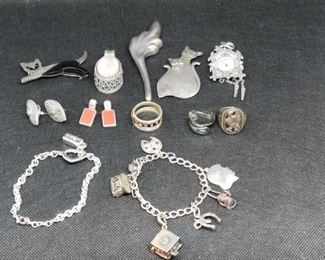 Sterling Silver Bracelets, Earrings, Pendant, Rings, and Pins