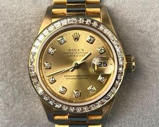 Rolex Datejust 18K Gold & Diamond Ladies Watch