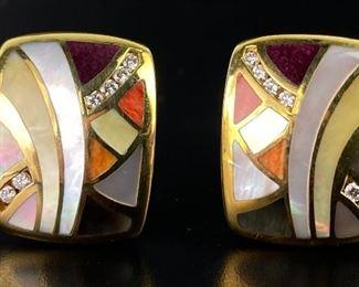 Asch Grossbardt 14K Yellow Gold & Diamond Earrings