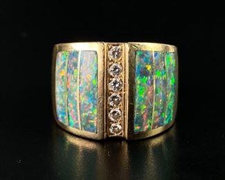 14K Yellow Gold w/ Opal & Diamond Ring