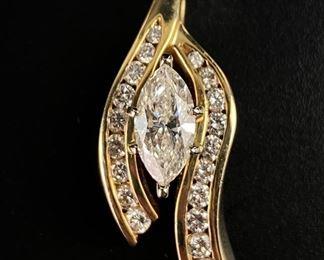 14K Yellow Gold & Diamond Custom Made Slide