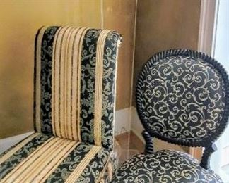 Custom upholstered chairs (4 of each style)