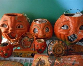 Paper Mache Jack o Lanterns and other Halloween Decorations