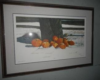 Bob Timberlake Pumpkins in the Snow Signed Numbered 59/1000