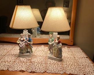 Vintage porcelain lamps, dancing couples