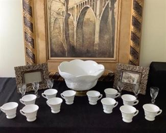 Milk Glass Punch Bowl Cups with Decor