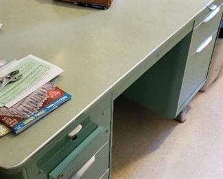 """Green metal desk, vintage   56"""" x 30"""" x 31""""tall"""