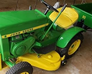 John Deere 1964 fully restored tractor, model 110 and cart, model 80.