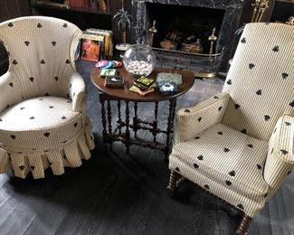 side armchairs and gate-leg table, brass fireplace surround, coaster and LP's
