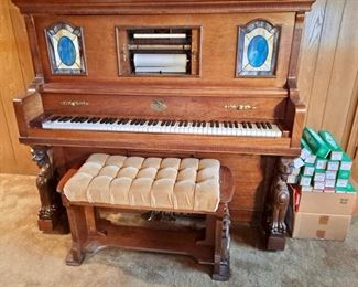 Universal Player Piano...Player Piano Portion Needs Work, But Piano Portion Sounds Good...Sold With Piano Rolls