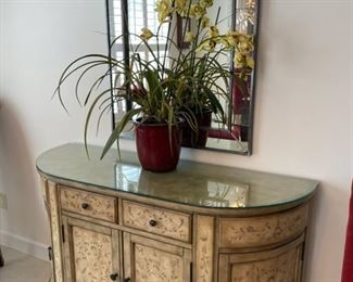 "silk plant, mirror 29"" x 45"", chest 52w x 18d  painted   ""antiqued""    custom glass top"