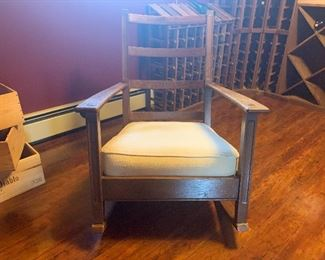 Antique Rocker. Made by Lauerman's Home Furnishings in Marinette WI.