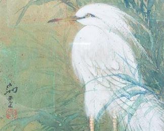 Antique Asian Egret Painting