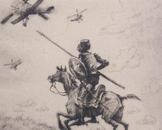 Henry Peck Don Quixote Etching