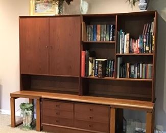 MCM Danish Modern  Teak Cabinet, Teak Shelving Units (separate pieces) Shown w/ end tables that match coffee table