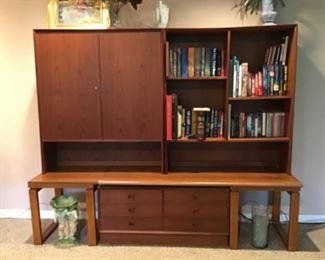 Teak Six Drawer Chest, Teak Cabinet w/ Shelves and Open Shelf