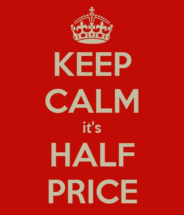 This sale resumes at 11am on Thursday (5/13) until 3pm. Most items will be half price but others will be reduced slightly.