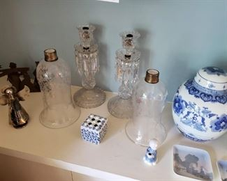 Antique Baccarat Crystal Hurricane Candelabra