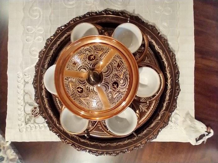 Fine Turkish Tea Set and Serving Tray, ornate and fun, for cafe, espresso, demitasse, hot chocolate,
