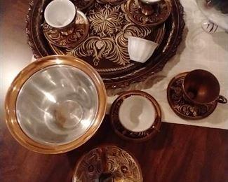 Vintage Turkish Tea Set and Serving Tray,