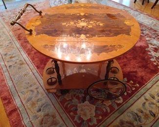 Stunning Marquetry Inlaid Bar Cart, Tea Cart, Rolling Bar,