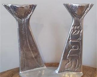 Lot 004 Don Drumm Shabbat Candle Holder Hebrew Signed