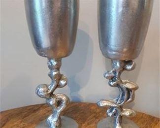 Lot 003 Vintage Don Drumm Chalices Wine Goblets Set 2 Signed