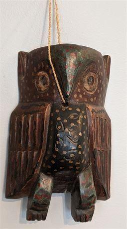 "Lot 011-1 Vintage Guatemala Wood Owl Mask 11.25"" x 7.5"""