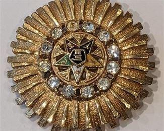"Lot 011-14 Vintage Masonic Order of the Eastern Star Freemason Goldtone Rhinestones 1.5"""