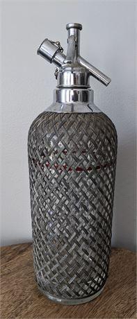 """Lot 011-6 Vintage 1930s Large 13.5"""" Glass Red Line Soda Seltzer Bottle Silver Mesh"""