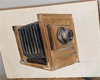 "Lot 022 Armenia Handpainted Camera Painting Original Signed16.25 x 11.25"""