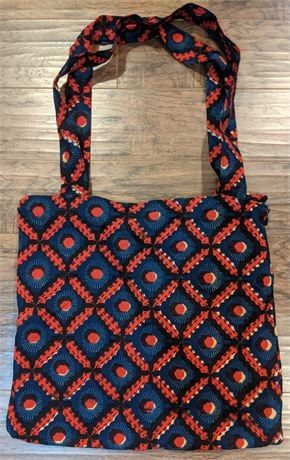 Lot 047 Tanzania Africa New Large Cloth Bag Purse Zip w/Pocket