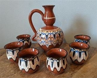 Lot 048 Cyprus Greek Cypriot Ouzo Pitcher and Glasses
