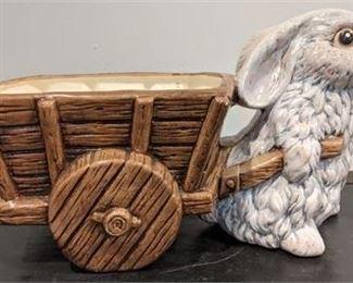 Lot 051 Vintage Hand-painted Ceramic Bunny Planter w/ Wagon