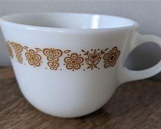 Lot 065 Set 6 Vintage Pyrex Coffee Mugs Microwaveable