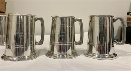 Lot 056-3 Goodyear Tire and Rubber Co.1970s Engraved Pewter Tankards Golf w/Boxes