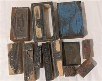 Lot 093 Vintage Wood Metal Printing Block Newspaper Stamp Plates 12 Ohio Companies