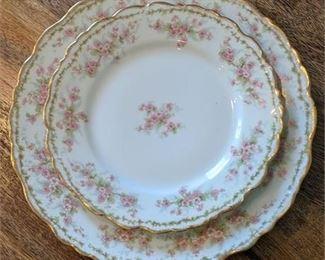 Lot 097-1 Set 10 French Limoges Floral Pattern Dinner + Salad Plates