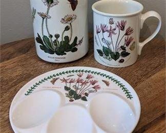 Lot 126-2 Portmeirion Botanic Garden Ceramic mug, spoon holder, utensil holder