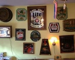 Tons of vintage beer mirrors and signs - Miller Lite, Schmidt, Mickey Malt Liquor, Molson Canadian, Cinci, and more