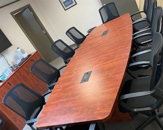 Cherry wood conference table with data port 48x144  H-29inches 10 chairs/black-mesh fabric /swivel/tilt