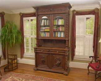 1. Monumental Antique Henri II Carved Oak Cabinet