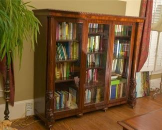 2. Horner American Renaissance Carved Dolphin Figural Three Door Bookcase